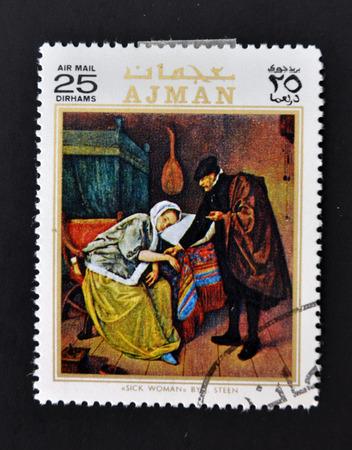 AJMAN - CIRCA 1970: A stamp printed in Ajman shows sick woman by Steen, circa 1970