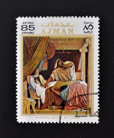 AJMAN - CIRCA 1970: A stamp printed in Ajman shows Antiochus Malady by Ingres, circa 1970