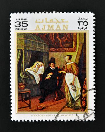 AJMAN - CIRCA 1970: A stamp printed in Ajman shows Doctor´s visit by Havicksz, circa 1970