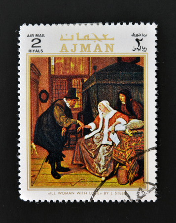 AJMAN - CIRCA 1970: A stamp printed in Ajman shows Ill woman with love by Steen, circa 1970