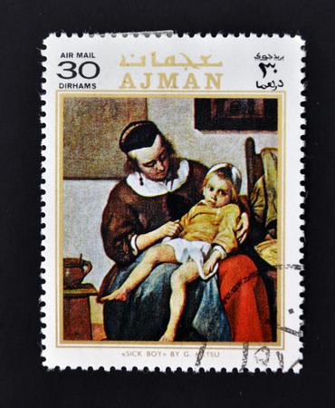 AJMAN - CIRCA 1970: A stamp printed in Ajman shows sick boy by Metsu, circa 1970  Stock Photo