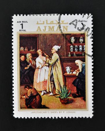 AJMAN - CIRCA 1970: A stamp printed in Ajman shows apothecary´s shop by Longhi, circa 1970