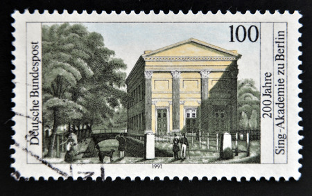 choral: GERMANY- CIRCA 1991: stamp printed in Germany shows Choral Singing academy of Berlin circa 1991 Stock Photo