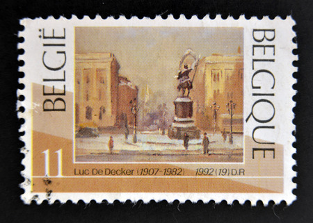 postoffice: BELGIUM - CIRCA 1992: Stamp printed in Belgium shows The Brussels Place Royale in winter by Luc De Decker, circa 1990 Stock Photo