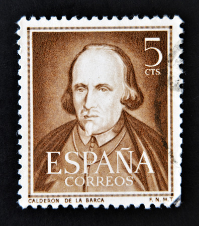 dramatist: SPAIN - CIRCA 1951: A stamp printed in Spain shows dramatist, poet and writer Pedro Calderon de la Barca, circa 1951