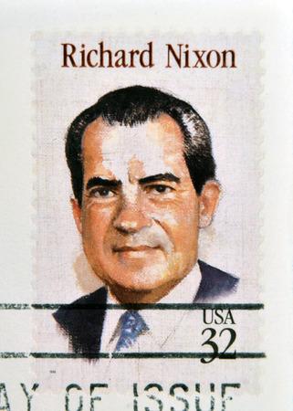 richard: UNITED STATES OF AMERICA - CIRCA 1995: a stamp printed in USA showing an image of president Richard Nixon, circa 1995.