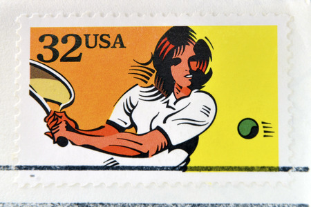 recreational sports: UNITED STATES OF AMERICA - CIRCA 1995: A stamp printed in USA dedicated to recreational sports, shows tennis, circa 1995