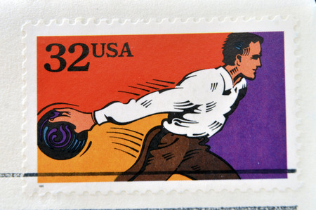 recreational sports: UNITED STATES OF AMERICA - CIRCA 1995: A stamp printed in USA dedicated to recreational sports, shows bowling, circa 1995