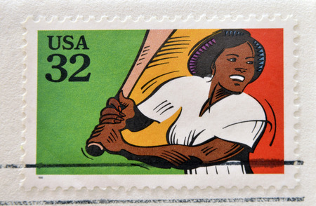 recreational sports: UNITED STATES OF AMERICA - CIRCA 1995: A stamp printed in USA dedicated to recreational sports, shows softball, circa 1995