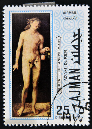 durer: AJMAN - CIRCA 1970: a stamp printed in the Ajman shows Adam, Painting by Albrecht Durer, circa 1970  Editorial
