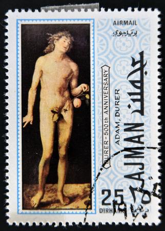 durer: AJMAN - CIRCA 1970: un francobollo stampato in Ajman mostra Adamo, dipinto da Albrecht Durer, circa 1970