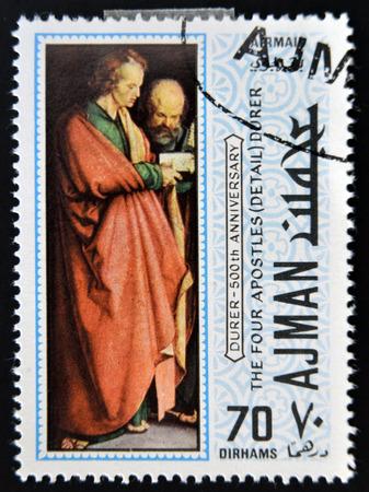 durer: AJMAN - CIRCA 1970: un francobollo stampato in Ajman mostra I quattro apostoli, dettaglio, dipinto di Albrecht Durer, circa 1970