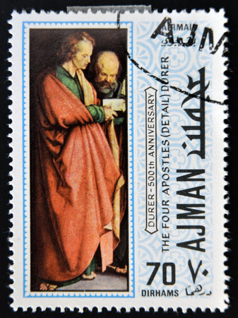 AJMAN - CIRCA 1970: a stamp printed in Ajman shows The Four Apostles, Detail, Painting by Albrecht Durer, circa 1970  Editorial