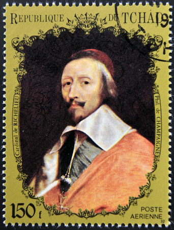 eminence: CHAD - CIRCA 1972: A stamp printed in Chad shows Cardinal Richelieu by Champaigne, circa 1972