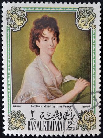 khaima: RAS AL KHAIMA - CIRCA 1972: A stamp printed in Ras Al Khaima shows painting of Hans Hansen - Portrait of the composers wife, Konstanze Mozart, circa 1972  Editorial