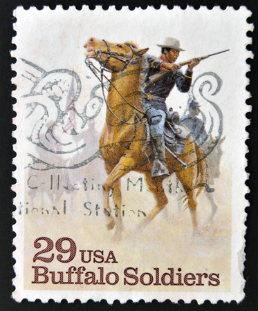 cody: UNITED STATES OF AMERICA - CIRCA 1994: A stamp printed in USA shows Buffalo Soldiers, circa 1994