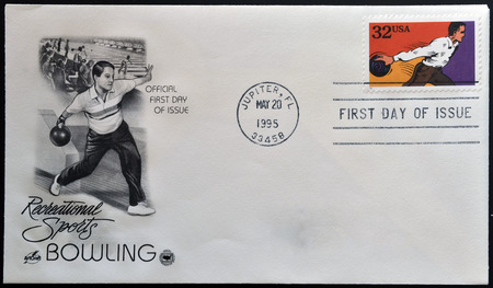 UNITED STATES OF AMERICA - CIRCA 1995: A stamp printed in USA dedicated to recreational sports, shows bowling, circa