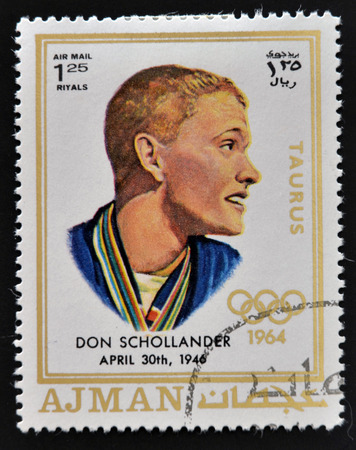 donald: AJMAN - CIRCA 1970: A stamp printed in Ajman shows Donald Schollander, circa 1970  Editorial
