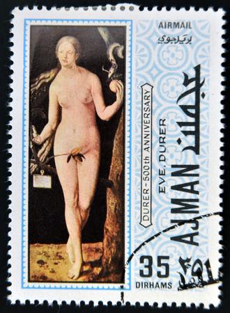 durer: AJMAN - CIRCA 1970: un francobollo stampato in Ajman mostra Eva, dipinto di Albrecht Durer, circa 1970