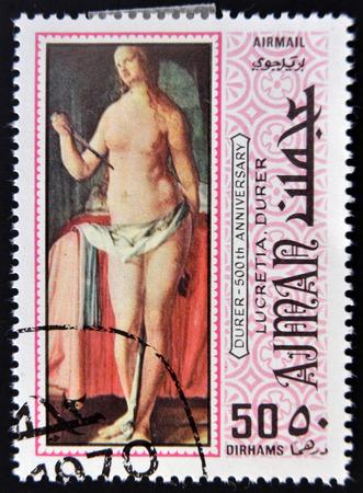 durer: AJMAN - CIRCA 1970: un francobollo stampato in Ajman mostra Lucrezia, dipinto da Albrecht Durer, circa 1970
