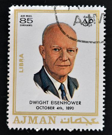 eisenhower: AJMAN - CIRCA 1970: A stamp printed in Ajman shows Dwight David Eisenhower, circa 1970