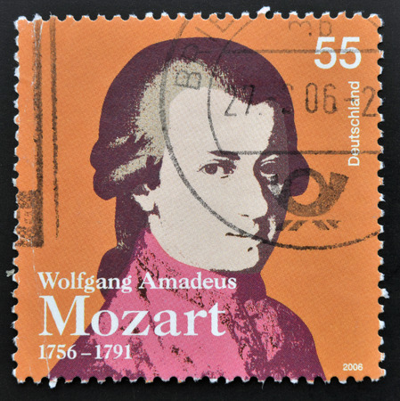 amadeus: GERMANY - CIRCA 2006: a stamp printed in Germany shows image of Wolfgang Amadeus Mozart, circa 2006