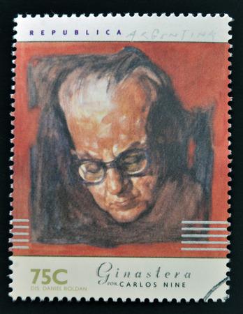 carlos: ARGENTINA - CIRCA 1997: A stamp printed in Argentina dedicated to argentinian musicians, shows Alberto Ginestera by Carlos Nine, circa 1997