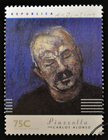 bandoneon: ARGENTINA - CIRCA 1997: A stamp printed in Argentina dedicated to argentinian musicians, shows Piazzolla by Carlos Alonso, circa 1997
