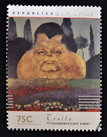 bandoneon: ARGENTINA - CIRCA 1997: A stamp printed in Argentina dedicated to argentinian musicians, shows Anibal Troilo by Hermenegildo Sabat, circa 1997 Editorial