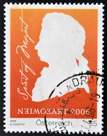 amadeus mozart: AUSTRIA - CIRCA 2006: a stamp printed in Germany shows Wolfgang Amadeus Mozart, circa 2006  Editorial