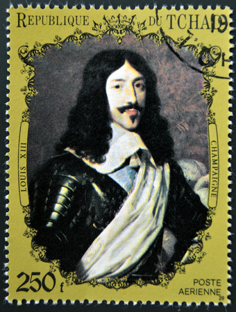CHAD - CIRCA 1972: A stamp printed in Chad shows Louis XIII of France by Champaigne, circa 1972   Editorial