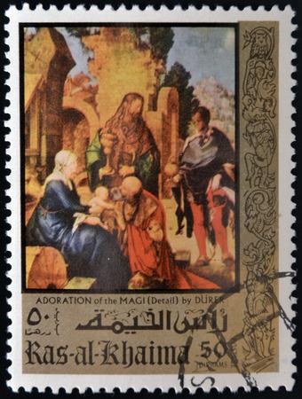 """durer: RAS AL KHAIMA, Emirati Arabi Uniti, CIRCA 1970: timbro mostra """"Adorazione dei Magi"""" (particolare) dipinto di Durer, CIRCA 1970 Editoriali"""