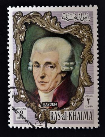 notability: RAS AL-KHAIMAH - CIRCA 1970: a stamp printed in the Ras al-Khaimah shows Joseph Haydn, circa 1970