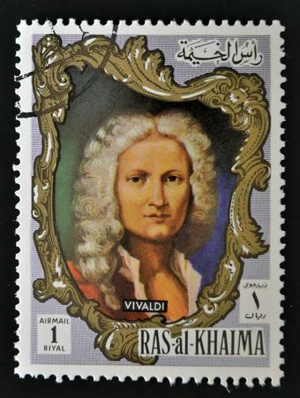 RAS AL-KHAIMAH - CIRCA 1970: a stamp printed in the Ras al-Khaimah shows Antonio Lucio Vivaldi, circa 1970