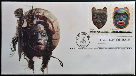 tlingit: UNITED STATES OF AMERICA - CIRCA 1980 : A stamp printed in USA shows Indian Art, circa 1980