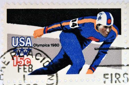mailmen: USA - CIRCA 1980: stamp printed in USA dedicated to the 13th Winter Olympic Games, Lake Placid, circa 1980