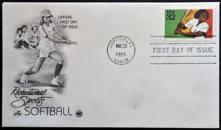 UNITED STATES OF AMERICA - CIRCA 1995: A stamp printed in USA dedicated to recreational sports, shows softball, circa 1995
