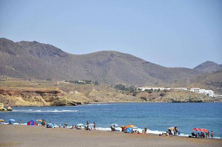 beauties: Los Escullos beach, one of the volcanic beauties of Cabo de Gata, Andalusia, Spain