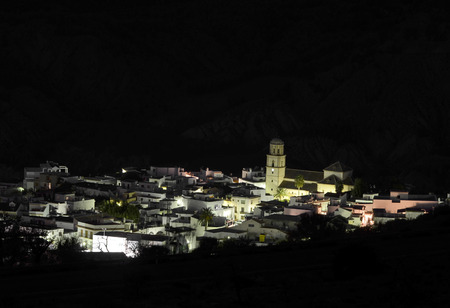 small village in the Alpujarra at night, Andalusia photo