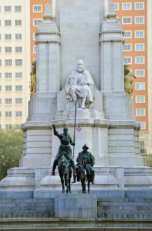 don quixote: Monument to Cervantes, Don Quixote and Sancho Panza. Madrid, Spain Stock Photo