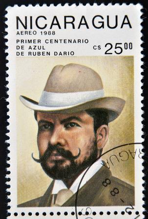 NICARAGUA - CIRCA 1988: A stamp printed in Nicaragua shows the Nicaraguan poet Ruben Dario, circa 1988