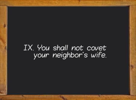 commandment: The ninth commandment of christian catholic on a blackboard
