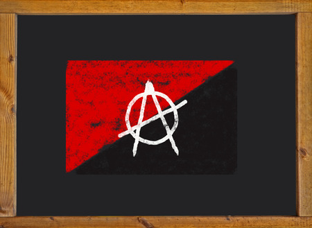 anarchist: anarchist flag on a blackboard Stock Photo