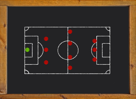 Football field with 3-4-3 formation on blackboard photo
