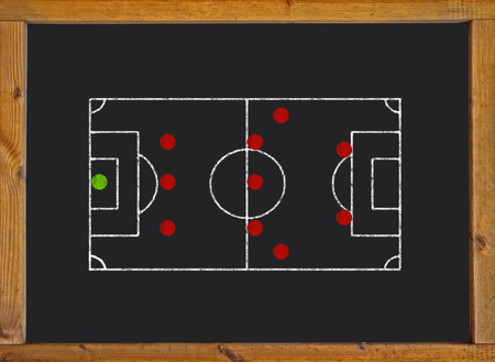 Football field with 3-5-2 formation on blackboard photo