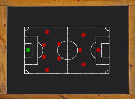 Football field with 4-2-3-1 formation on blackboard photo