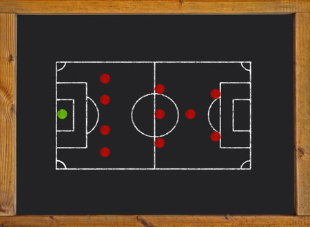 Football field with 4-3-1-2 formation on blackboard photo