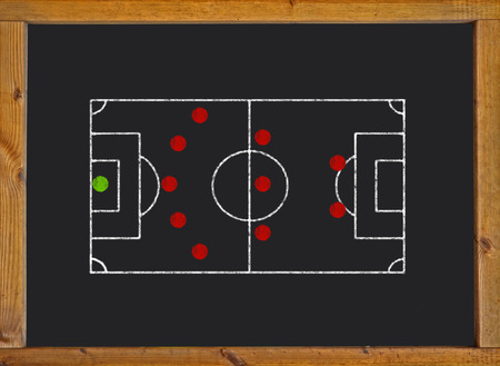Football field with 5-3-2 formation on blackboard photo