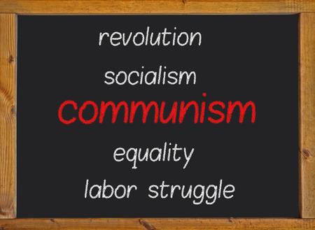 Communism written on a blackboard photo