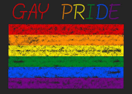 gay pride flag on a blackboard photo